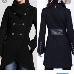 Mackage asymmetrical military black wool coat